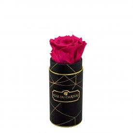 Rosafarbene Ewige Rose in Schwarzer Industrial Rundbox Small