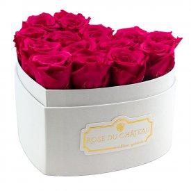 Rosafarbene Ewige Rosen in weißer Herzbox