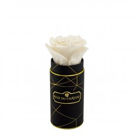 Weiße Ewige Rose in Schwarzer Industrial Mini Rundbox