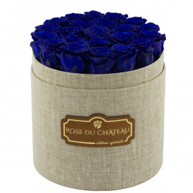Blaue Ewige Rosen In Leinen Blumenbox