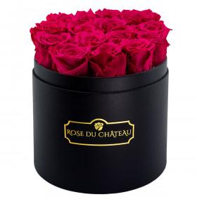 Rosarfarbene Ewige Rosen in schwarzer Rundbox