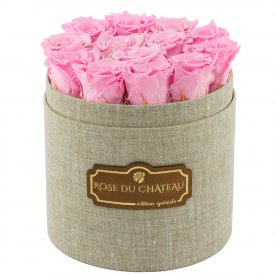 Pale Pink Eternity Roses & Flaxen Flowerbox
