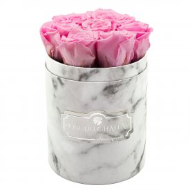 Palepink Eternity Roses & White Marble Flowebox Small