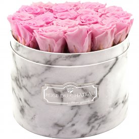 Palepink Eternity Roses & White Marble Flowebox Large