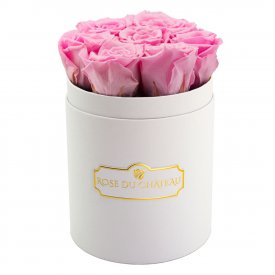 Pale Pink Eternity Roses & White Small Flowerbox