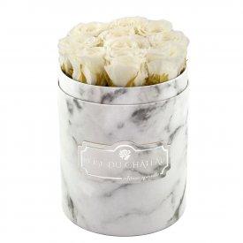 White Eternity Roses & White Marble Flowebox Small