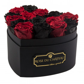Black & Red Eternity Roses & Black Heart Box