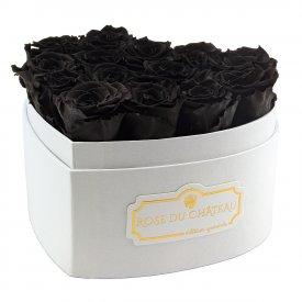 """Roses Éternelles Noires en Boîte """"Heart"""" Blanche"""