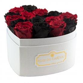 """Roses Éternelles noires et rouges en boîte """"heart"""" blanche"""