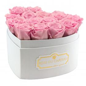 """Roses Éternelles Roses Pâles en Boîte """"Heart"""" Blanche"""