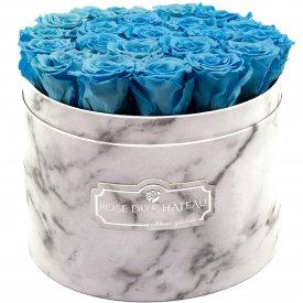 Modré věčné růže ve velkém bílém mramorovém flowerboxu