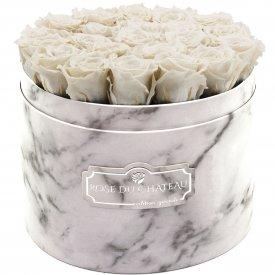 Weiße Ewige Rosen in weißer marmorierter Rundbox Large