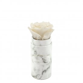 Weiße Ewige Rosen in weißer marmorierter Mini Rundbox