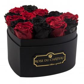 Schwarze & Rote Ewige Rosen in schwarzer Herz Box