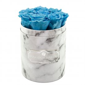 Azure Eternity Roses & White Marble Flowebox Small