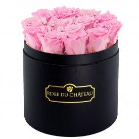 Pale Pink Eternity Roses & Black Round Flowerbox