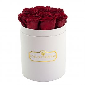 Red Eternity Roses & White Small Flowerbox