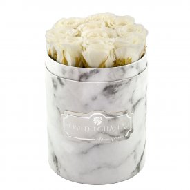 White Eternity Roses & White Marble Flowebox Small