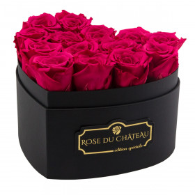 Pink Eternity Roses & Black Heart Box